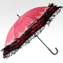 Manual Open Lace Edge Ladies Straight Umbrella (BD-20)
