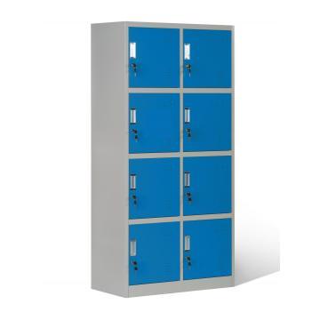 Armarios de almacenamiento de gran capacidad con 8 compartimentos color azul
