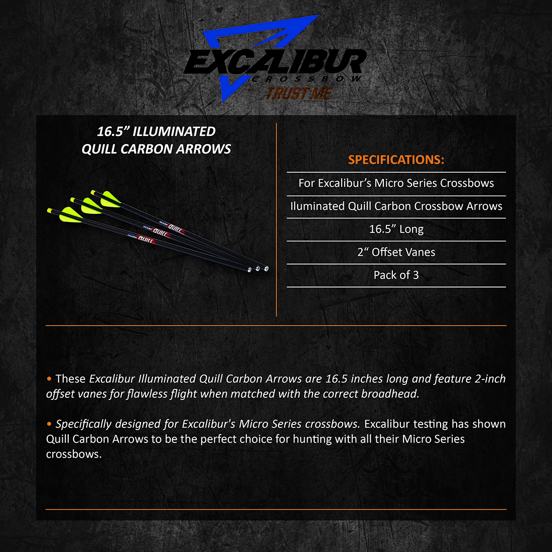 Excalibur_Illuminated_Quill_Carbon_Arrows_3pk16.5in_Product_Description
