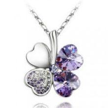 2014 pedra preciosa sorte quatro folhas trevo colar de jóias pingente