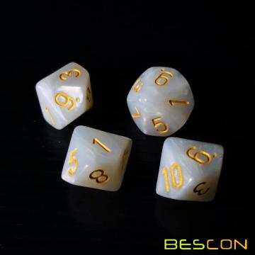 Bescon Polyhedral 10 Sides Dice with Number 1-10, Marble White 10 Sided Dice, 10 Sides Cube 1-10 Pearl White