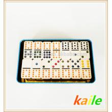 Doppel 9 weiße billige Dominosteine mit Blechdose