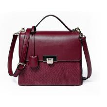 Ladies Burgundy PU Shoulder Bag with Gun Metal Hardware