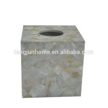 Coquille d'eau douce couleur naturelle carré boîte de tissu royal coquille de perles boîte de tissu royal