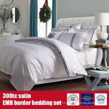 100% algodón 300TC Satén EMB Border Sheet Hotel Fine Linens