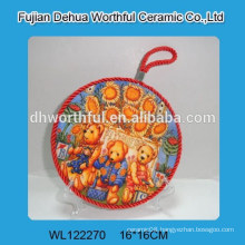 Wholesale Russia type nice ceramic pot holder with lifting rope