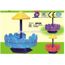 JQB1016 Popular niños al aire libre de plástico Playground equipo Silla giratoria de hongo, silla giratoria