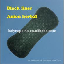 Doublure de culotte à base d'herbes ultra doux de coton d'oxygène de 150mm / doublure noire de culotte