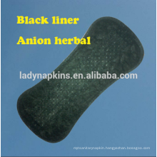 150mm Unique oxygen cotton ultra soft herbal panty liner /black panty liner