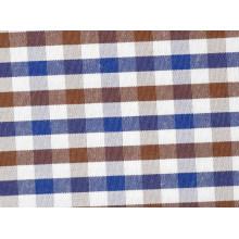 Brown/Navy vérifie confortable fils teints tissu pour chemises
