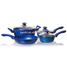 Aluminum Marble coating casserole set with glass lid