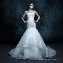 ZXB4 Mermaid Lace Appliques Lace Up Sweetheart Crystal Wedding Dress