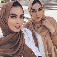 Plain 78 colors dubai muslim women chiffon bubble scarf shawl hijab chiffon scarf