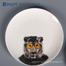 Nueva china de huesos Fotos de dibujos animados Cena de León platos de cerámica