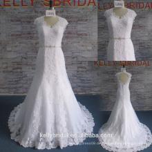 Reizvolles Hochzeits-Kleid-Meerjungfrau-heißes verkaufendes Hochzeits-Kleid-Spitze-Applique-Brautkleid mit wulstigem Gurt
