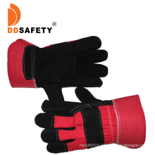 Black Cow Split Leather Gloves with Full Palm Red Cotton Back Ab Grade
