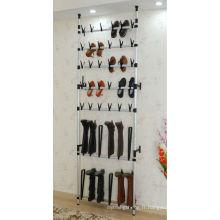 Étagère à chaussures de fil fixée au mur pour 30 paires, rayant des chaussures rayonnant
