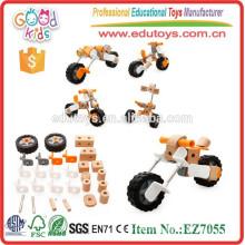 Newest Design Assemble Motorcycle Toys OEM Kids Wooden Educational Wholesale Construction Toys EZ7055