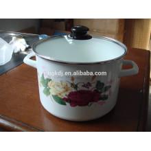 Enamel High Stock Pot con calcomanías huecas y tapa de vidrio Esmalte High Stock Pot con calcomanías huecas y tapa de vidrio