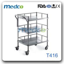 Quente! Trolley médico de aço inoxidável T416