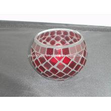 Bougeoir en verre rouge mosaïque