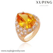 13336 Xuping anillo al por mayor 18k chapado en oro con un gran color champán sintético Cz