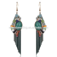 hot beautiful green tassel latest hanging bridal daily wear earrings