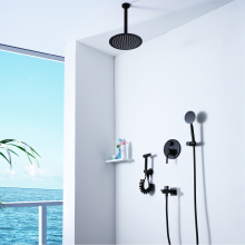Wall Mount Round Black Bathroom Shower Faucet Set