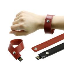 Кожаный браслет Флэш-накопитель USB Запястье Накопитель