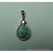 Природные Larimar стерлингового серебра Кулон (P0345)