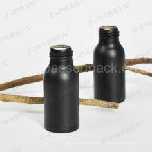 Pequeña botella de aluminio negro para embalaje de alimentos (certificación FDA)