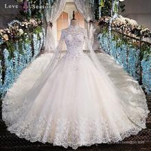 LS00169 hohe Halsqualität Spitze Perle Frauen Braut Kleider langes weißes Hochzeitskleid