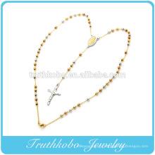 2016 haute qualité en acier inoxydable trois tons or jésus crucifix 4mm perles chapelet collier
