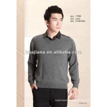 2014 fashion men's shirt collar 100% cashmere sweater