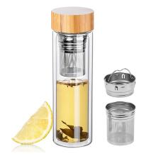 300ml  450ml 550ml Tea Fruit Infuser Double Wall Glass Drinking Water Bottle