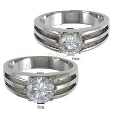 Gets.com acero inoxidable chapado en oro anillo de compromiso de pareja