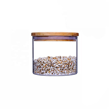 glass herb storage jar with bamboo lid for tea packaging BJ-139A