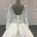 Plus Size Wedding Dress 3D Floral Lace Appliqued Long Sleeve Muslim Bridal Gown