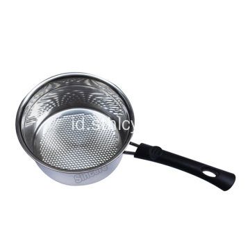 Mini Memasak Pot Stainless Steel Milkpot Gagang Kayu