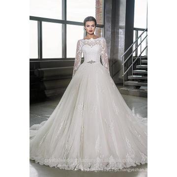 Últimos vestidos Alibaba Elegante A Vestidos de casamento Line Vestidos de Novia com manga longa 2016 LWA06