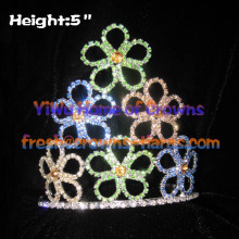 Colorful Flower Clovers Crystal Crowns