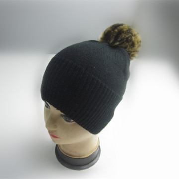New Design Black Beanie with Leopard Pompom