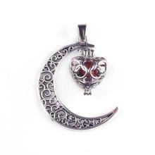 Carnelian Gemstone Moon Silver Plated Charm Pendant Necklace