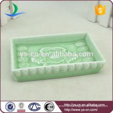 Flor de diseño de porcelana azul y blanco Jabón Plato Para Ducha