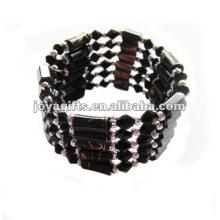 """Perles de verre magnétiques noir enroulées Bracelets et collier 36 """""""