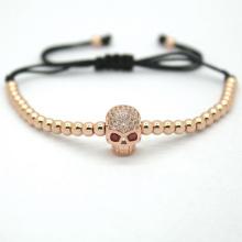 Joyería de la manera de los hombres, 4mm negro plateado redondo cabeza esqueleto granos trenzado de pulseras de la joyería de la moda Europea y americana
