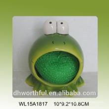 Frog ceramic kitchen sponge holder
