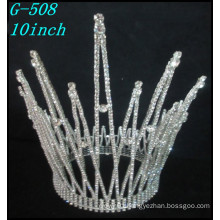 Wholesale Silver rhinestone kings big pageant full pageant round crowns tiara