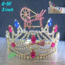 Neue Qualität klarer Rhinestone-Tiara-Großhandelswettbewerb-Tiara-Prinzessinkronen für Kinder