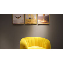 Modern luxury furniture set living room pink velvet sofa chair with stainless steel legs